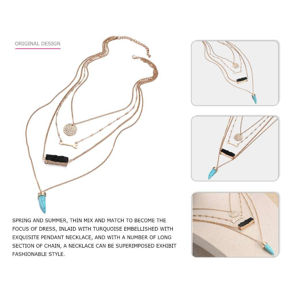 EManco ファッション絶妙なマルチレイヤ幾何チェーンネックレス & ペンダント女性樹脂 & 石のアクセサリージュエリー