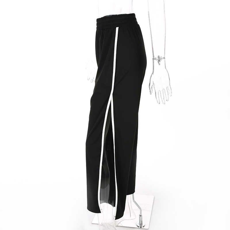 Weekeep, женские модные штаны с разрезом, высокая талия, свободные, женские брюки, 2017, широкие, уличные, лоскутные штаны
