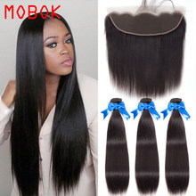 MOBOK Brazilian Virgin Hair Straight Hair Bundles with Frontals 13x4 Human Hair Free/Middle/Three Part Lace Frontal Closure(China)