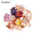 Beagloer Marca Anillos de San Valentín de Regalo Rose Plateó Cristales Austríacos Multicolores de Flores Forma Anillos de Compromiso Ri-HQ0023