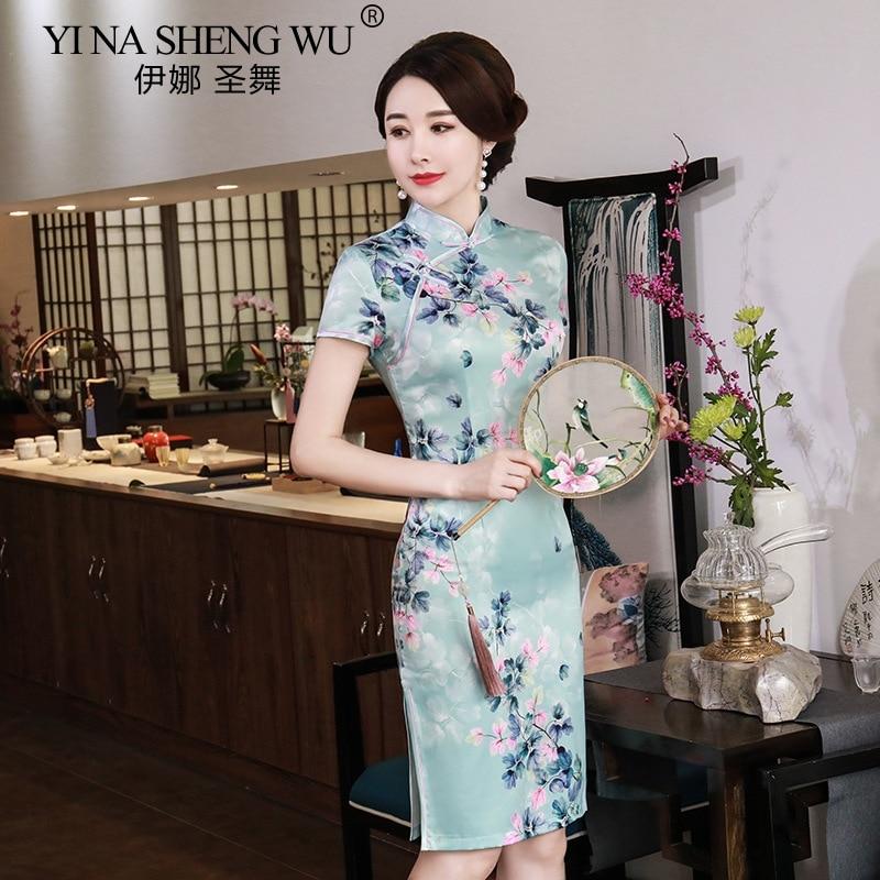 Chinese Modern Apparel Cheongsam Wedding Dress Women Print Skirt Slim Dress Sexy qipao Stain Dress Retro Daily Show Cheongsam