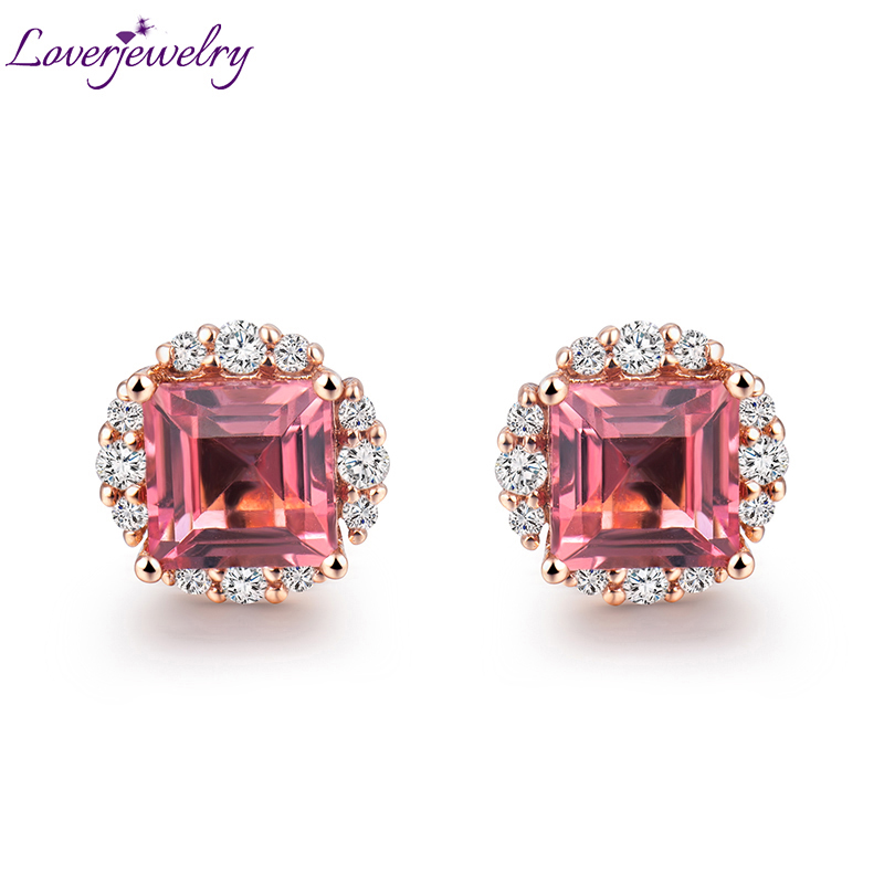 LOVERJEWELRY Princess Cut 5 5mm Pink Tourmaline Diamond Wedding Earring Solid 18K Rose Gold Jewelry for