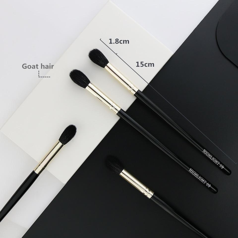 BEILI 1 Piece Goat Hair Precise blending Eye shadow Detailed small shade Single Makeup Brushes Black handle Silver ferrule 9