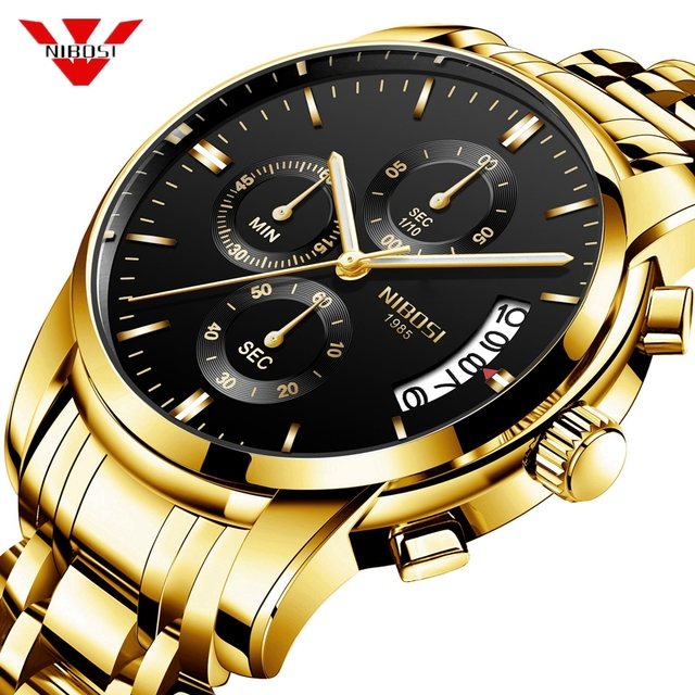 NIBOSI Watch Men Fashion Sport Quartz Clock Mens Watches Top Brand Luxury Business Waterproof Gold Black Watch Relogio Masculino