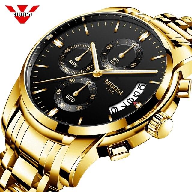 NIBOSI ساعة الرجال موضة الرياضة كوارتز ساعة رجالي ساعات العلامة التجارية الفاخرة الأعمال مقاوم للماء الذهب الأسود ساعة Relogio Masculino