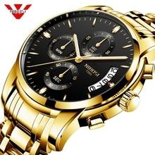 Nibosi腕時計メンズファッションスポーツクォーツ時計メンズ腕時計トップブランドの高級ビジネス防水ゴールド黒腕時計レロジオmasculino