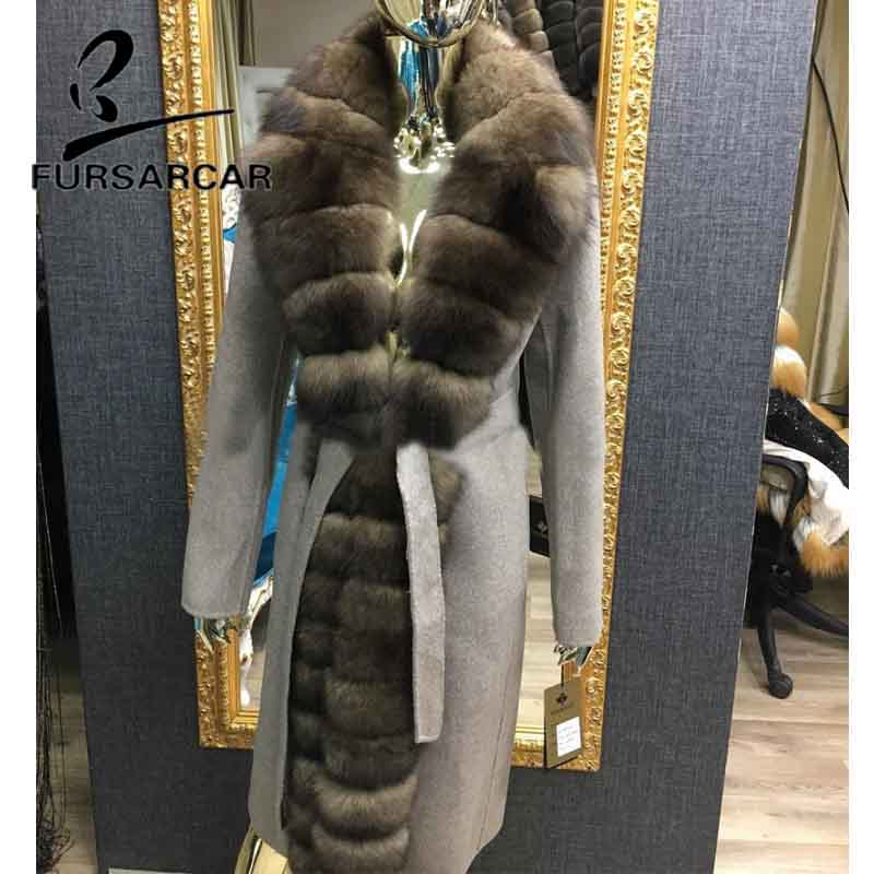 FURSARCAR New Fashion Real Fur Coat Women With Long Fox Fur Collar Winter Warm Luxury Wool Skin Fur Jacket 110 Cm Long Fur Coat