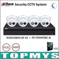 Dahua Security Camera System 4MP IP Camera IPC HDW4431C A 8POE NVR2108HS 8P S2 Surveillance P2P