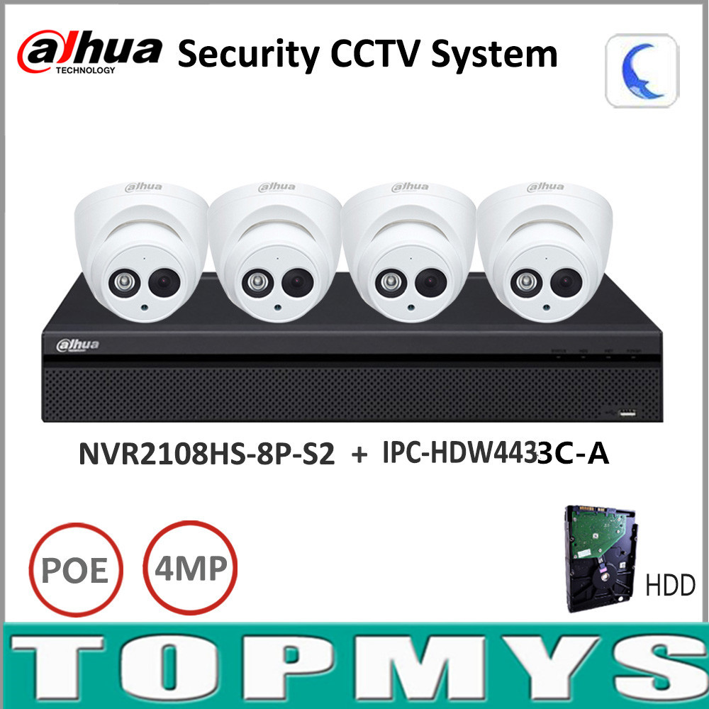 Dahua Security Camera System 4MP IP camera IPC-HDW4433C-A & 8CH POE nvr NVR2108HS-8P-S2 Surveillance P2P System Remote Viewing dahua 32ch nvr 16 poe 2u case 8 sata 1080p 200mbps gigabit rj45 android ios
