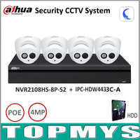 Dahua Security Camera System 4MP IP camera IPC HDW4433C A & 8CH POE nvr NVR2108HS 8P S2 Surveillance P2P System Remote Viewing