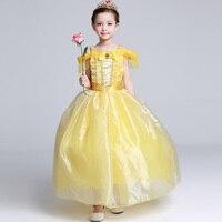 Горячие принцесса Белль голеностопного Длина желтый платье 2017 Новый дизайн одежды для девочек качество Формальное длинное вечернее платье