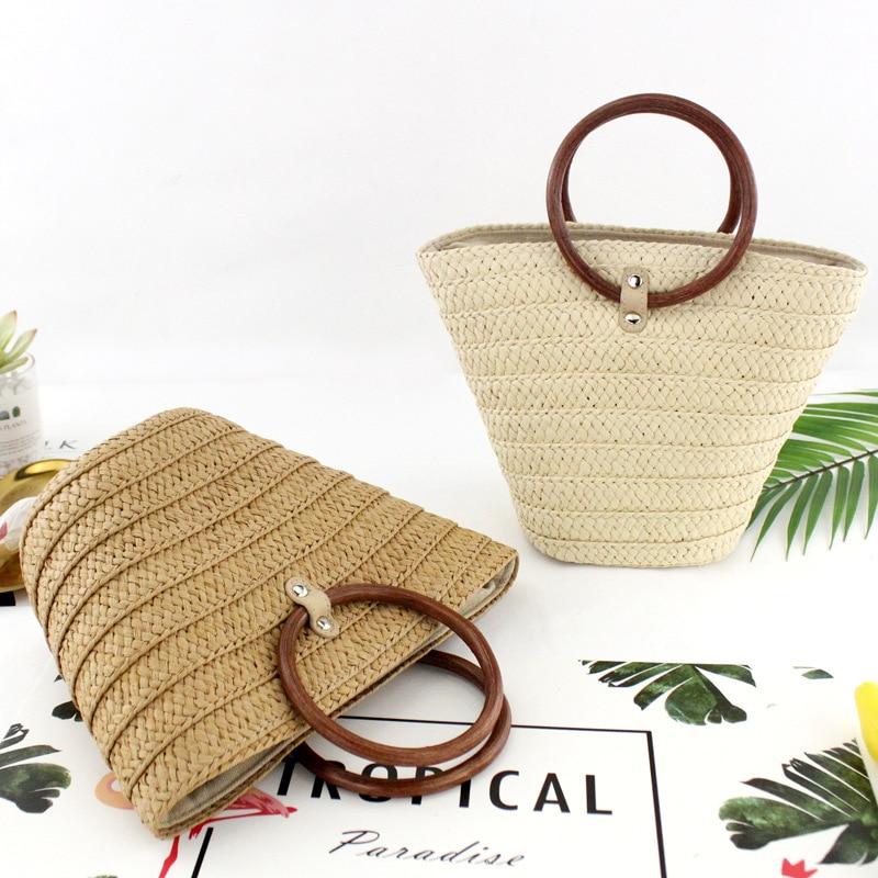Nuovo stile anello maniglia borsa secchiello borsa di paglia fatti a mano tessuto spiaggia casuale borsaNuovo stile anello maniglia borsa secchiello borsa di paglia fatti a mano tessuto spiaggia casuale borsa