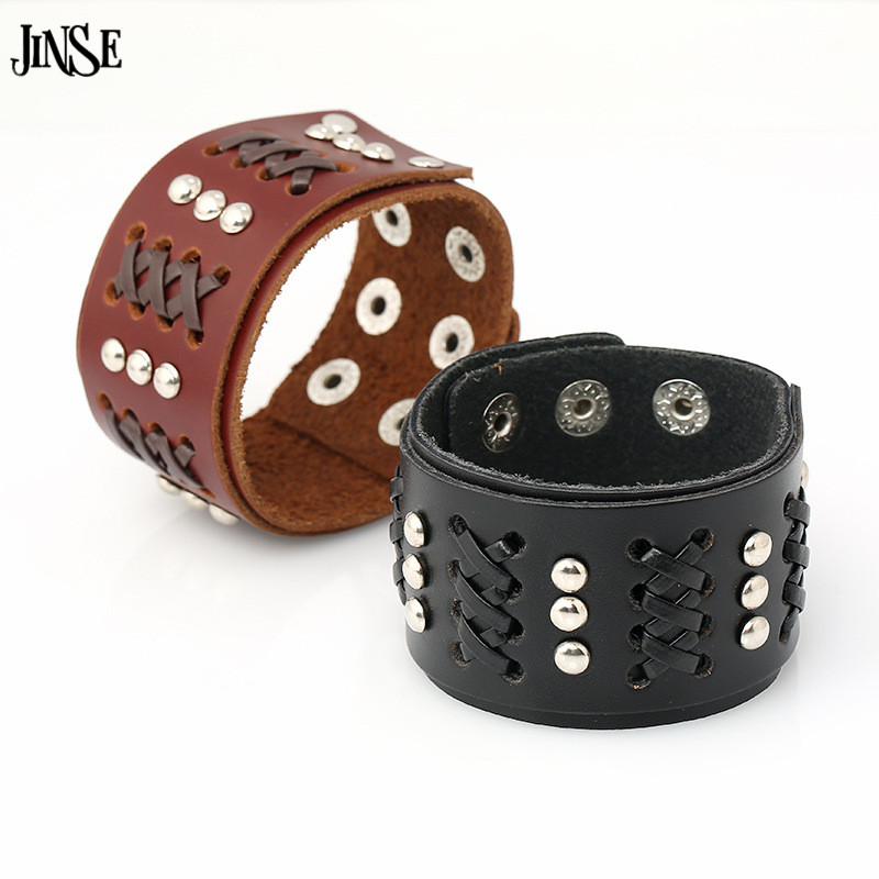 JINSE Mens Cuff Bracelets Wide Genuine Leather Bracelet Bangles Vintage Leather Rope Bra ...