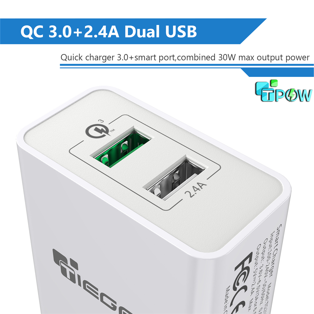 TIEGEM 30W Pengisian Cepat 3.0 USB Wall Charger Adapter UNI EROPA US - Aksesori dan suku cadang ponsel - Foto 2