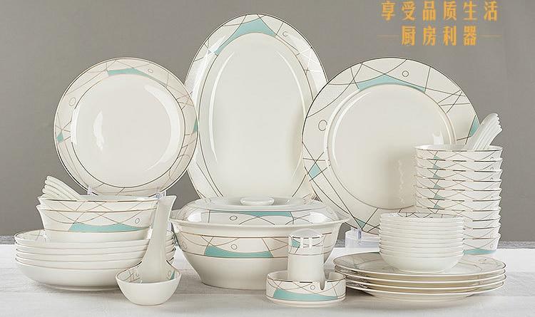 48pcs/lot, Real Bone China Dinner Plate Set, Modern Painting, Ceramic Bento