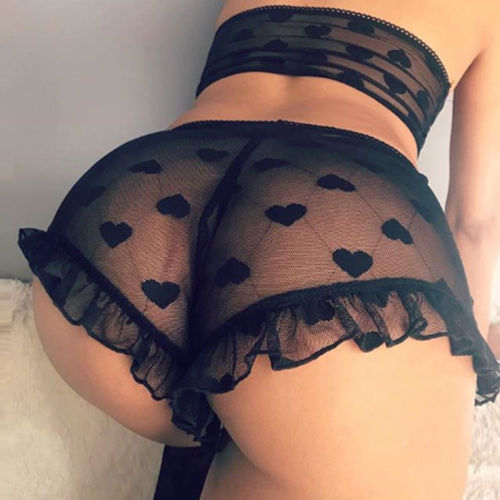 Womens Sexy Lingerie Heart Shape Print Lace Lingerie Sexy Hot Erotic Babydoll High Stretch G-string Sexy Underwear Babydoll S-XL