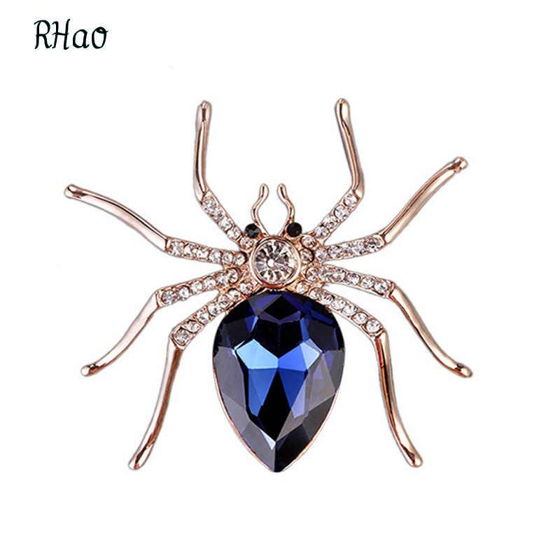 Baru 2017 Pria RHao Spider bros Biru Crystal Berlian Imitasi Hewan Serangga Bros pins untuk wanita pria Aksesoris Dekorasi hadiah