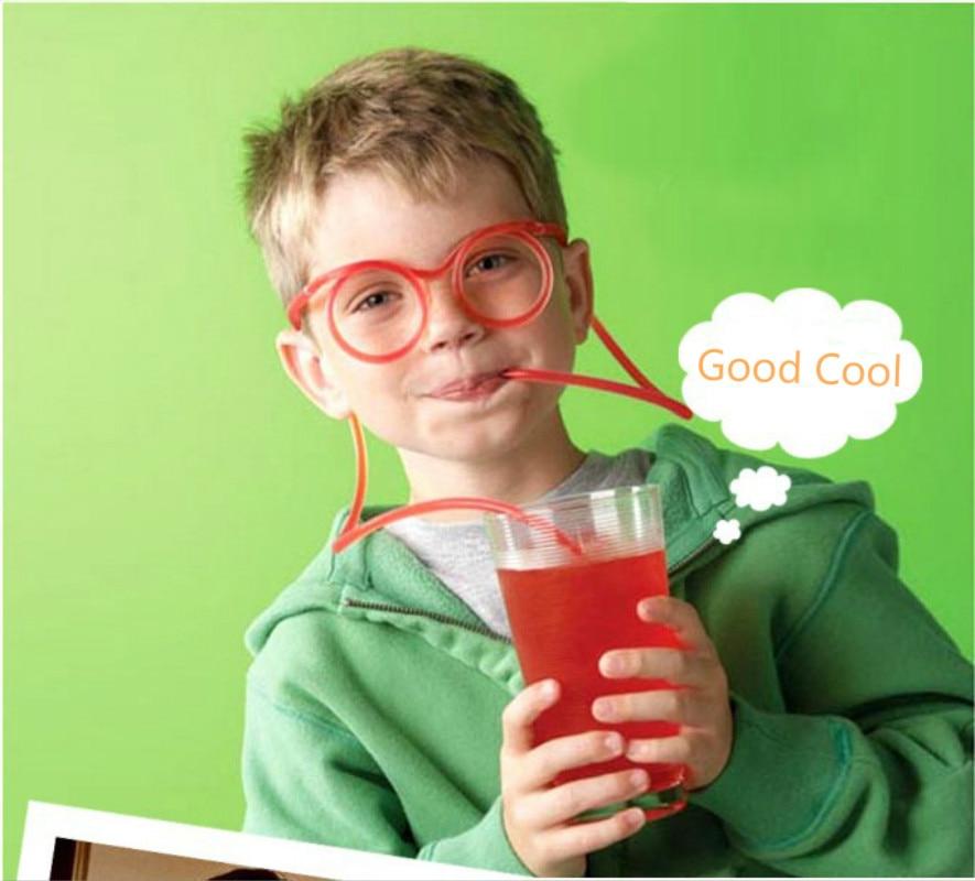 Fun Soft Plastic Straw Funny Glasses Flexible Drinking -8187