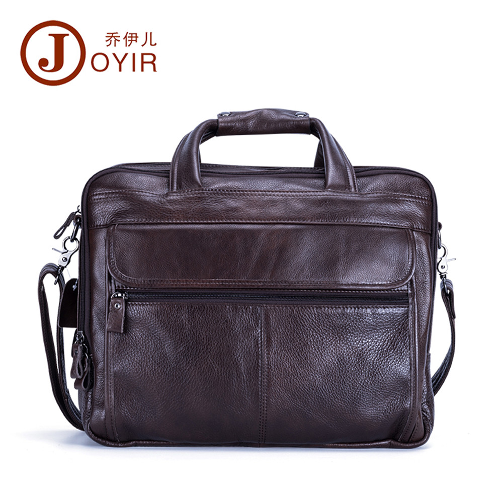 Joyir genuine leather briefcases for men fashion solid color leather laptop bag refinement zipper business bags man office bag joyir crazy horse leather briefcases men s genuine leather business bags male shoulder bag laptop bag men office bags for men