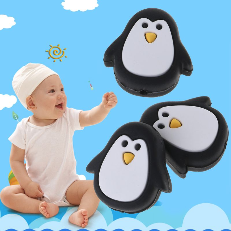 Silicone Beads Teething Bead Chew Bite Food Grade Silicone Penguin Cartoon Cute DIY Necklace Bracelet Pendant Baby Teether in Baby Teethers from Mother Kids