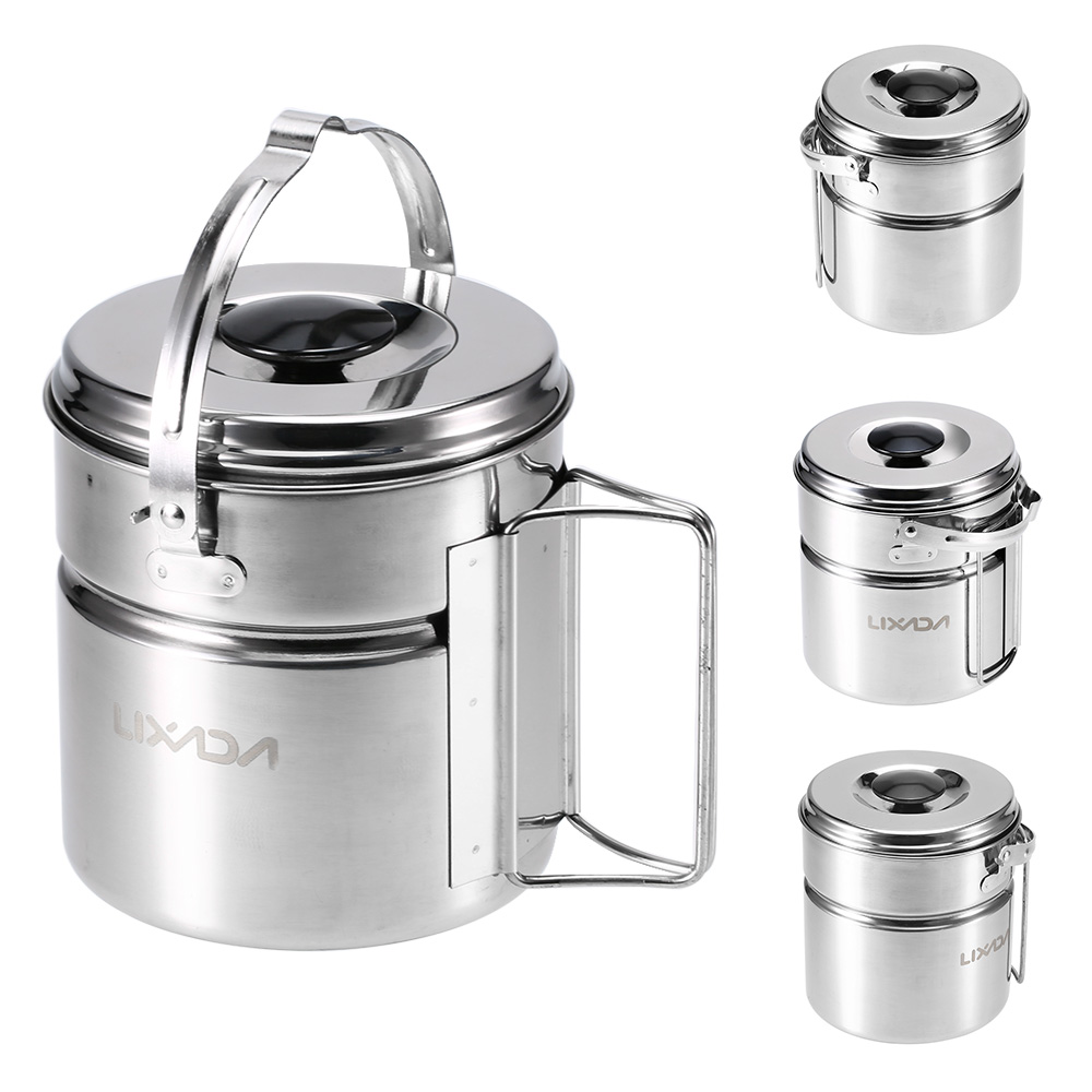 Image 2 - Lixada Stainless Steel Bail Handle Camping Pot with Internal Steaming Dish Foldable Handle Outdoor Tableware-in Outdoor Tablewares from Sports & Entertainment
