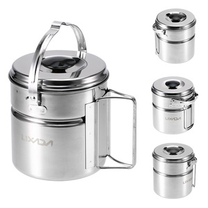 Image 2 - Lixada Stainless Steel Bail Handle Camping Pot with Internal Steaming Dish Foldable Handle Outdoor Tableware