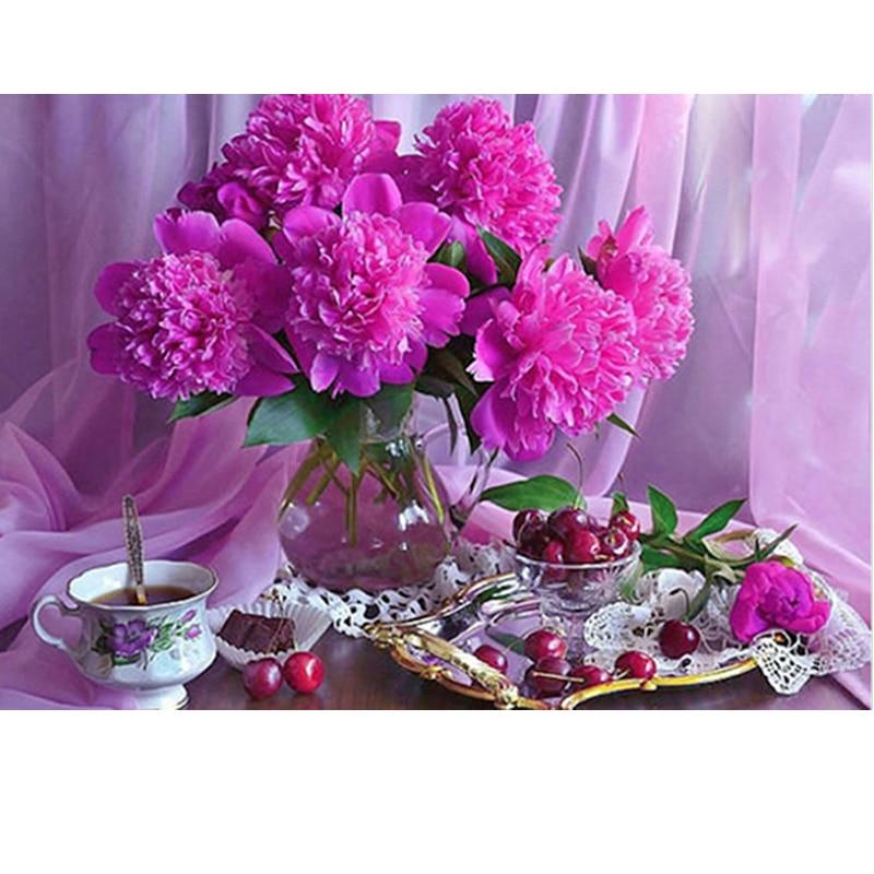 Diamant Point De Croix 3d Diamant Broderie fleur rose vase café décor à la maison diy Diamant peinture fleur mosaïque image pâtes
