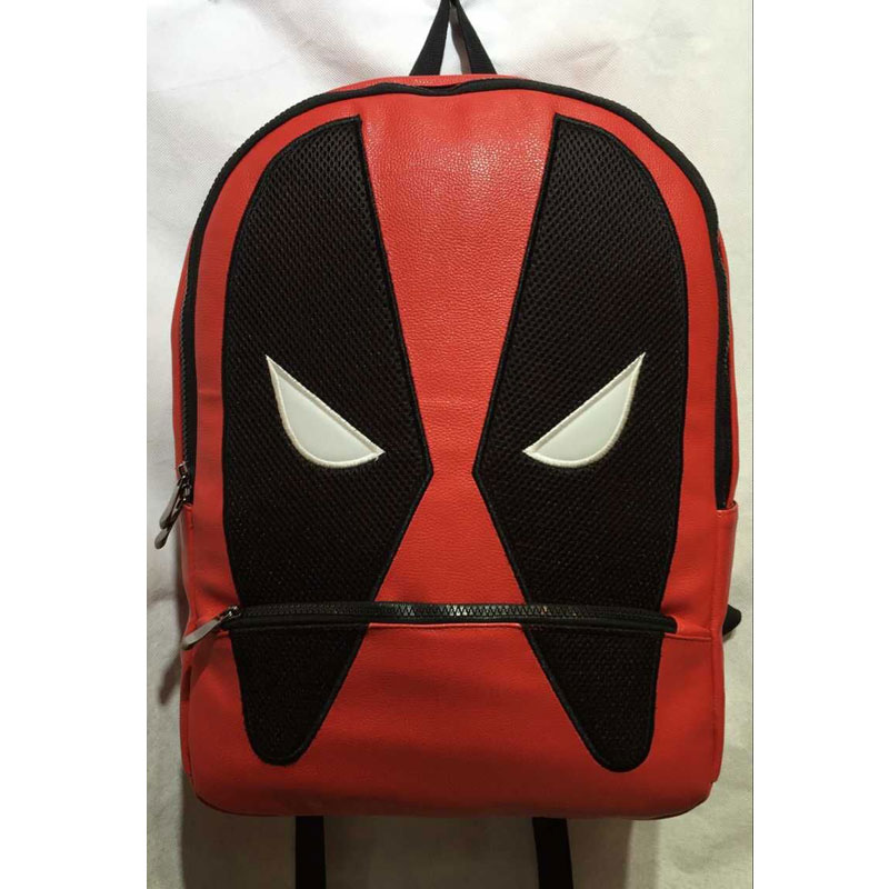 ФОТО 2017 Hot Anime PU Leather School Bags Deadpool Backpack Pouch Mochila Fashion Travel Backpack for Kids Boy Girl School Bag