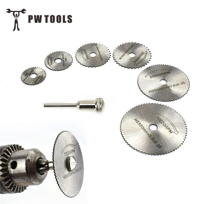HSS Saw Blade Rotary Tool 7PCS Bucksaw Tablets Circular Metal Rotary Cutter Power Tool Set Cutting Diamond Discs Mandrel