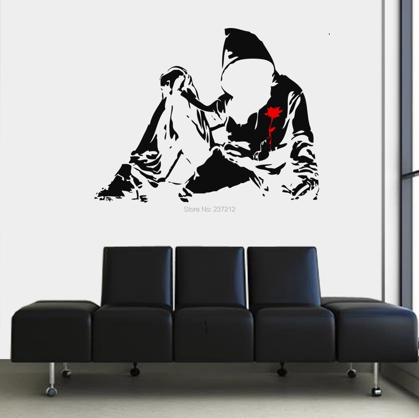 Sticker wall graffiti - Free Shipping Banksy Graffiti Hoodie Wall Transfer Vinyl Art Decal Graphical Room Sticker China