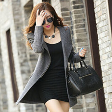 JJ 2015 New Fashion Womens Jackets And Coats Winter Women's Cashmere Wool Coat Casual Slim Long Clothing Zipper Jacket Tops 85E