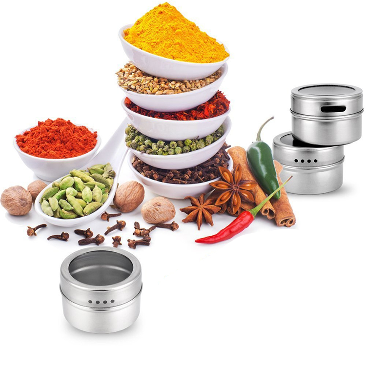 LMETJMA Magnetic Spice Jar Set With Stickers Stainless Steel Spice Tins Spice Storage Container Pepper Seasoning Sprays Tools 11