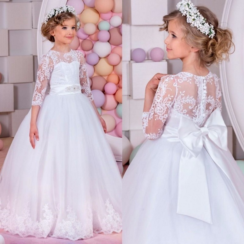 2018 Flower Girl Dresses White Appliques Ball Gown Pageant Dresses Communion Gown for Wedding Custom Made Vestido lovely purple ball gown long flower girl dresses for wedding custom made girls pageant gown