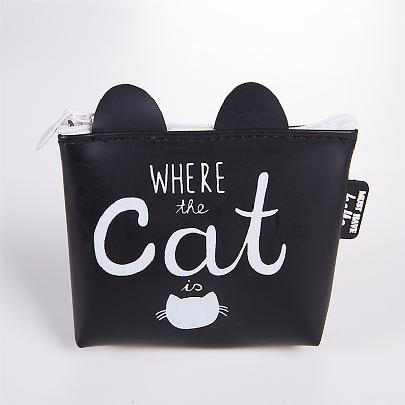 Women Girls Cute Cat Printed Coin Purse Fashion Snacks Coin Purses Wallet Bag Silicone Zipper Small Change Pouch Key Holder Bags мягкая игрушка сюрприз собачка рокси и ее щенки just play