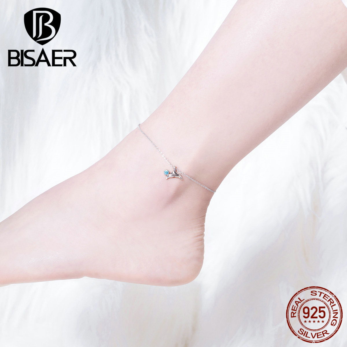 BISAER Mermaid Anklets 925 Sterling Silver Mermaid's Story Chain Silver Anklets for Women Sterling Silver Jewelry ECT004 4