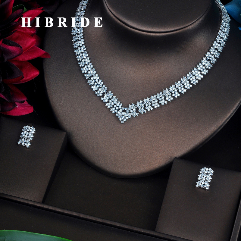 HIBRIDE Fashion Style AAA Cubic Zirconia Necklace Set Women Jewelry Sets Wedding Bride Dress Accessories Wholesale N 365