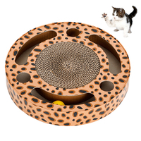 Petacc Cat Scratcher Corrugated Paper High Quality Cat Scratching Board Circular Pet Lounger With Rolling Bell