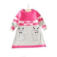 Wzór Dziewczyny Sweter z dzianiny Sweter Sukienka Dla Dziewczynek Bawełniana Sukienka Ruffles O-Neck Z Długim Rękawem Dla Dzieci Ubrania 2-6 T dziewczyny Odzież