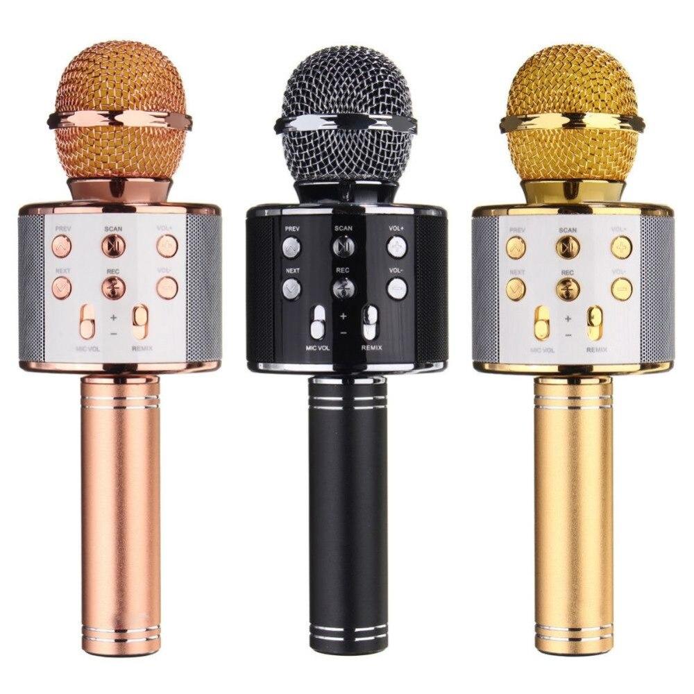 WS-858 KTV Jogador Karaoke Microfone de Mão Sem Fio Bluetooth USB Bluetooth Speaker Mic Gravar Música Microfones