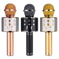 WS 858 Wireless Bluetooth Karaoke Handheld Microphone USB KTV Player Bluetooth Mic Speaker Record Music Microphones
