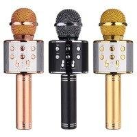 WS 858 Wireless Bluetooth Karaoke Handheld Microphone USB KTV Player Bluetooth Mic Speaker Record Music Microphones
