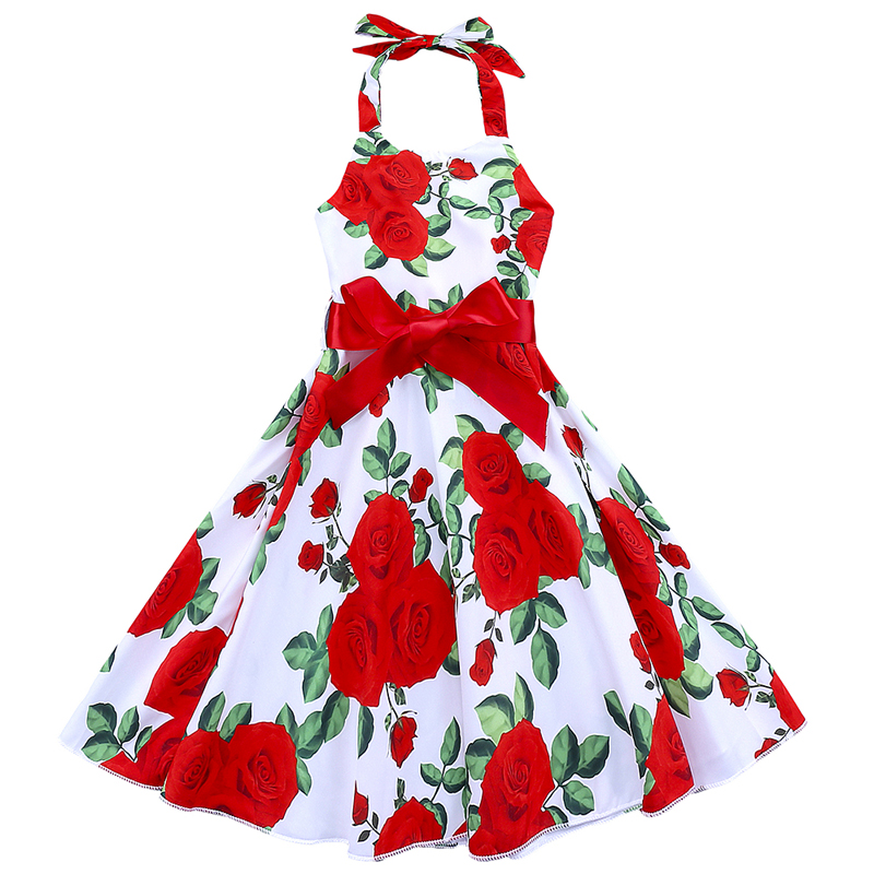Summer Girls Dress Cotton Floral Bow Girl Dresses Sleeveless Princess Dresses Kids Clothes Casual Children Clothing 2-6 Years baby girl summer dress children res minnie mouse sleeveless clothes kids casual cotton casual clothing princess girls dresses page 9