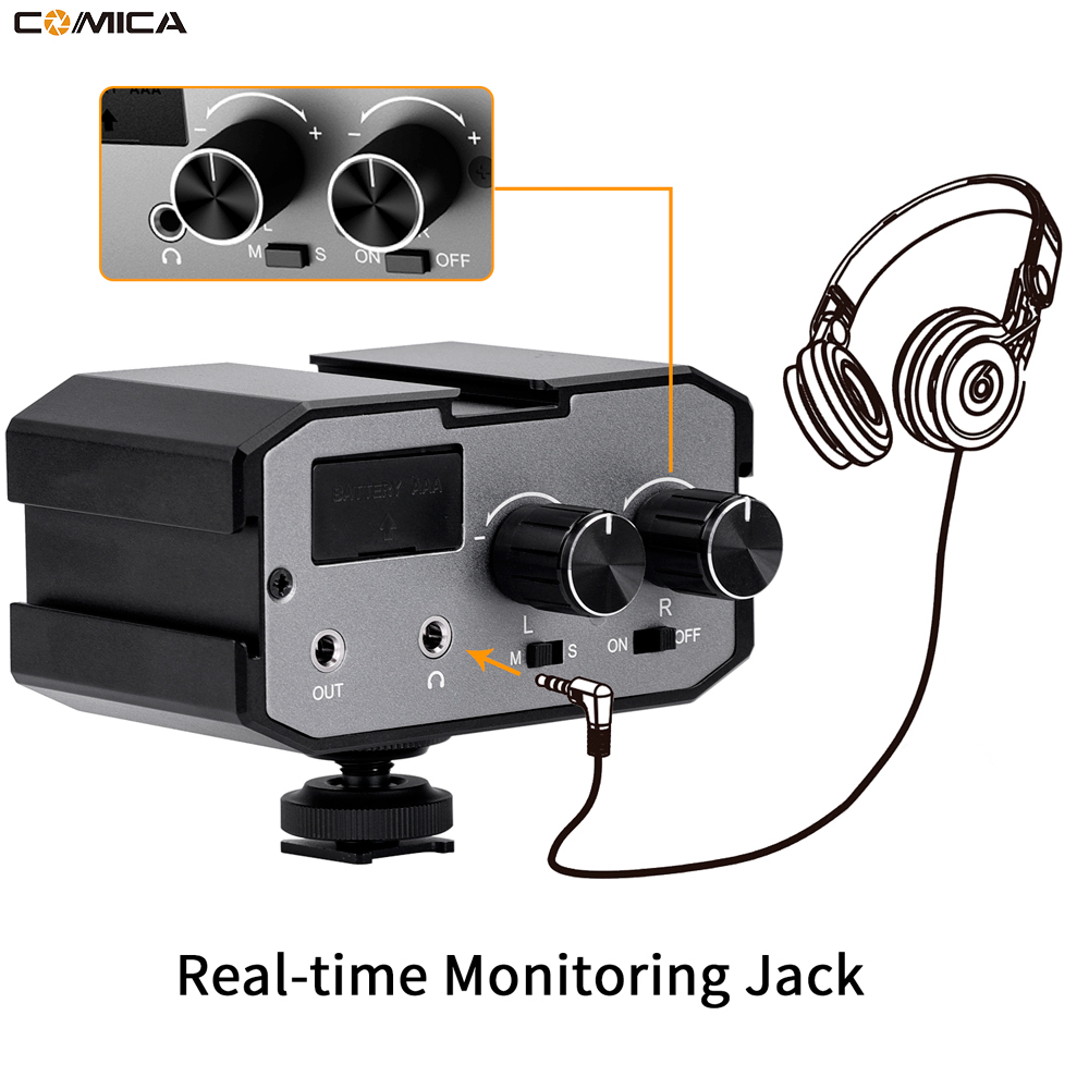Comica CVM AX1 Audio Mixer Adapter Universal Dual Channels Microphone Amplifier Audio Mixer 3 5mm Port
