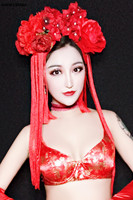 Vintage stage show tiara photo show fashion Chinese style flower tassel hair accessories