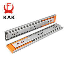 KAK 10 - 22 Stainless Steel Drawer Slides Soft Close Drawer Track Three-Section Drawer Rails Cabinet Roller Furniture Hardware 1 pair 2pcs stainless steel drawer slides 12 22 inch silent buffer damping slide kitchen cabinet drawer rails 3 section 30 55