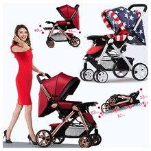 Новорожденных Детские коляски 3 в 1 Высокая Пейзаж складной Автокресло Travel Кабриолет ручка Портативный легкие коляски дорожная сумка для коляски