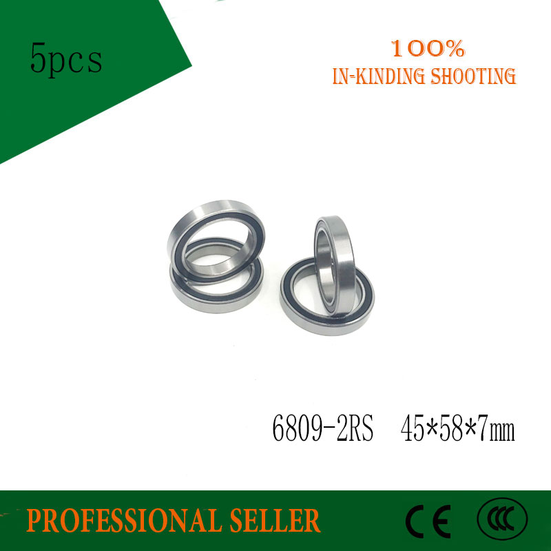 5pcs/Lot 6809-2RS 6809 RS 45x58x7mm The Rubber Sealing Cover Thin Wall Deep Groove Ball Bearing Brand New
