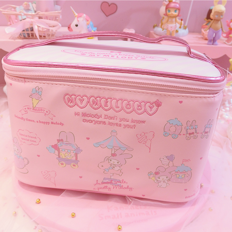 1pc Lovely Large Capacity Embroidered My Melody Square Portable Cosmetic Bag Girls Handbag Gifts