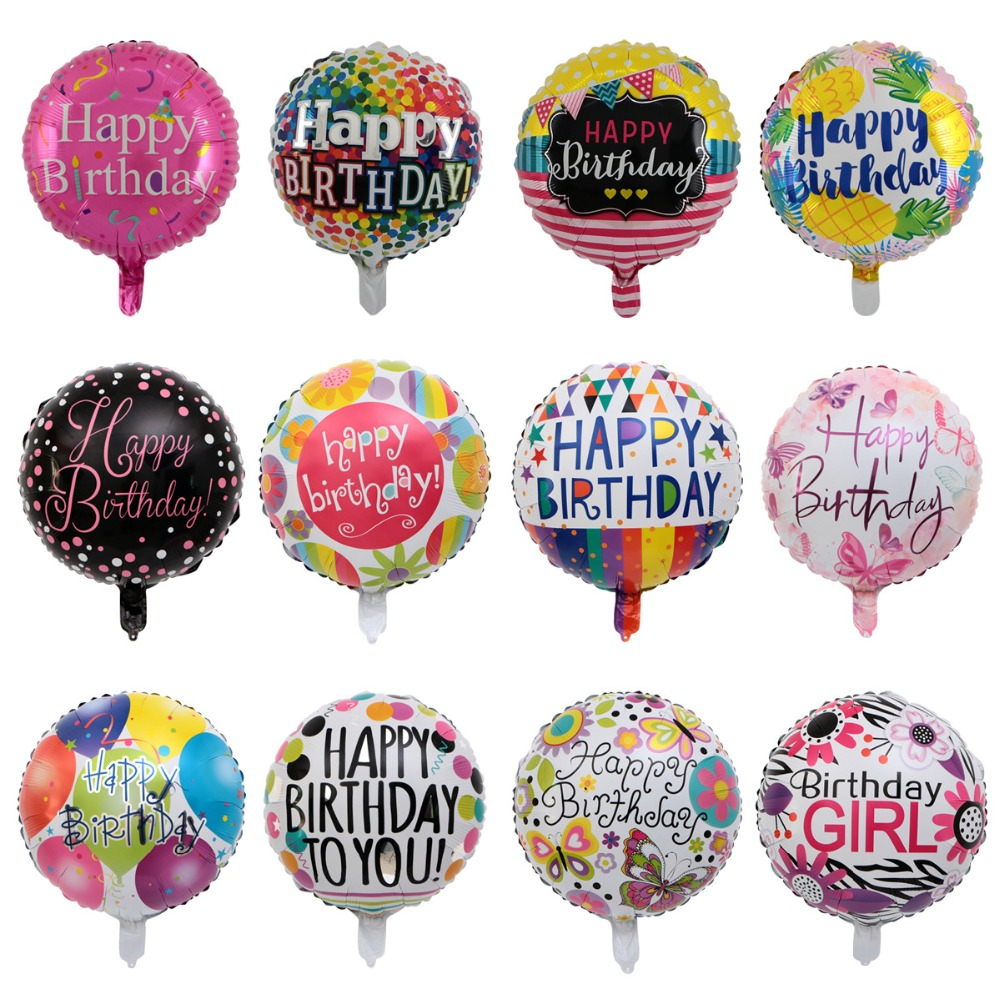 <font><b>18</b></font> inch <font><b>birthday</b></font> round air balls aluminum foil balloons <font><b>happy</b></font> <font><b>birthday</b></font> party decorations kids helium balloons party supplies image