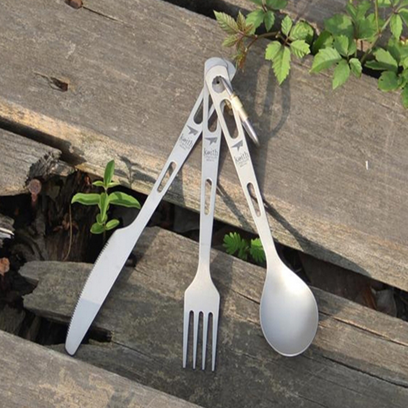 Keith Titanium Tableware Sets Knife Fork Spoon Portable Cutlery Cookwar Outdoor Camping Travelling Picnic Ultralight 53g Ti5310